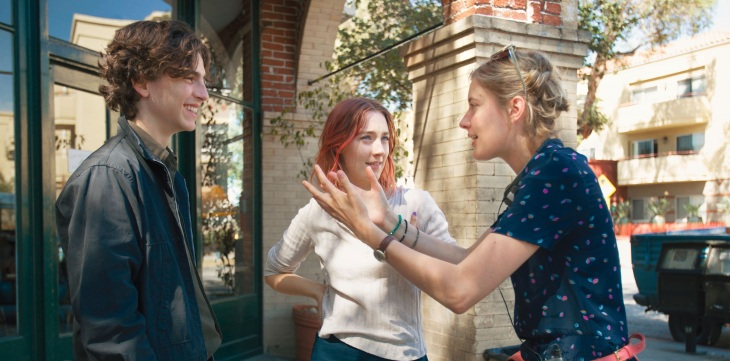 Lady Bird Saorise Ronan and Director Greta Gerwig on set